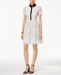 Tommy Hilfiger Collared Lace Fit And Flare Dress White Black