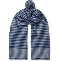 Anderson And Sheppard Houndstooth Cashmere Scarf Blue