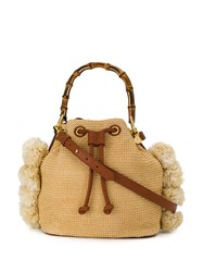 Twin Set Straw Bucket Bag With Bamboo Handle Neutrals