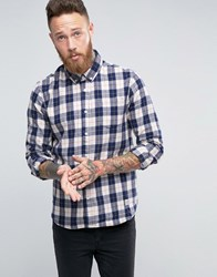 Penfield Pearson Check Button Shirt In Regular Fit Brushed Cotton Navy