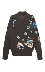 Dolce And Gabbana Embellished V Neck Sweater Dark Grey