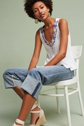 Anthropologie Naveen Embroidered V Neck Tank Top White