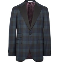 Michael Bastian Midnight Blue Slim Fit Checked Wool Tuxedo Jacket