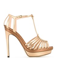 Fendi T Bar Platform Sandals Metallic