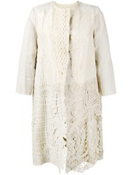 By Walid Antique Lace Coat Women Cotton Linen Flax M Nude Neutrals