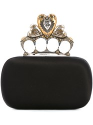 Alexander Mcqueen Heart Knuckle Box Clutch Women Silk Viscose One Size Black