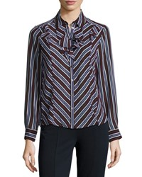 Nanette Lepore Chevron Striped Ruffle Blouse Regimental