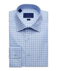 David Donahue Trim Fit Tonal Gingham Dress Shirt Blue