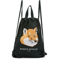 Maison Kitsune Green Fox Head Backpack