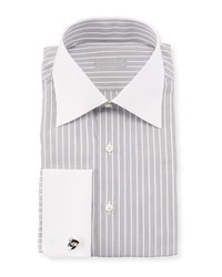 Stefano Ricci Contrast Collar Striped Dress Shirt Black