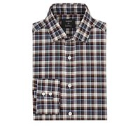 Fairfax Plaid Cotton Poplin Dress Shirt Navy