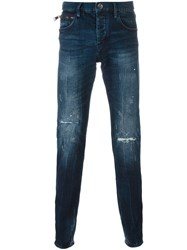 Emporio Armani Stone Washed Tapered Jeans Blue