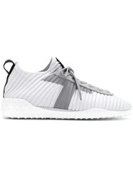 Tod's Lace Up Knit Sneakers Grey