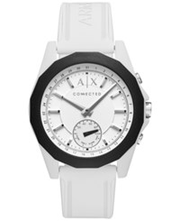 Armani Exchange Ax Men's Connected White Silicone Strap Hybrid Smart Watch 44Mm Axt1000