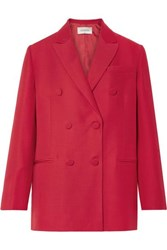 Valentino Oversized Silk And Wool Blend Crepe Blazer Red