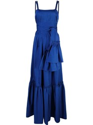 Alexis Belted Maxi Dress Blue