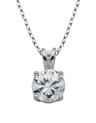 Lord And Taylor Sterling Silver Cubic Zirconia Pendant Necklace