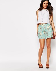 Love Shorts In Floral Print Mint Floral Blue