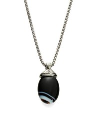 Zack Black Agate Pendant Necklace 26 In Stainless