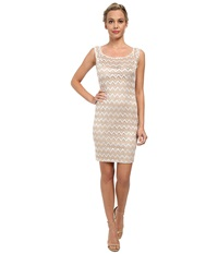 Alejandra Sky Zig Zag Lace Scoop Neck Dress Gold Ivory Women's Dress