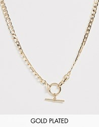 Regal Rose Gold Plated T Bar Curb Chain Necklace Gold