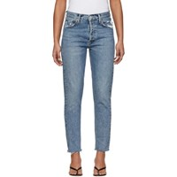 Agolde Blue Jamie High Rise Classic Fit Jeans