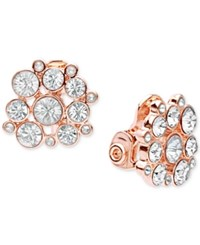 Anne Klein Stone And Crystal Cluster Clip On Earrings Rose Gold