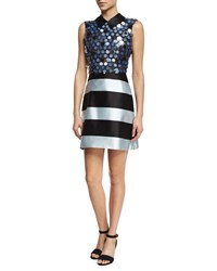 Mary Katrantzou Sleeveless Collared Stripe And Sequin Combo Dress Black Blue