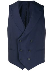 Caruso Double Breasted Waistcoat Blue