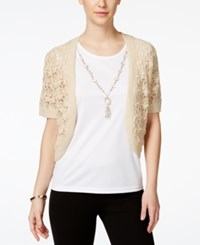Alfred Dunner Layered Look Necklace Top Flax