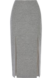 Wes Gordon Split Wool Blend Midi Skirt