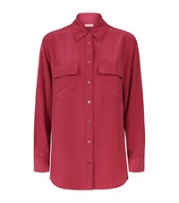 Equipment Signature Double Pocket Silk Shirt Female Purple