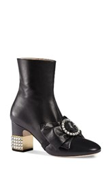 Gucci Women's Candy Bow Crystal Bootie Black Leather