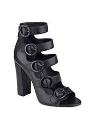 Kendall Kylie Evie Leather Buckle Accented Caged Sandals Black