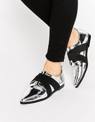 Asos Motor Pointed Flat Shoes Silver