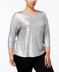 Inc International Concepts Plus Size Metallic High Low Top Only At Macy's Silver