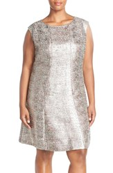 Plus Size Women's Tahari Metallic Boucle Cap Sleeve Party Dress