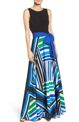 Eliza J Women's Scarf Print Jersey And Crepe De Chine Maxi Dress