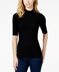 Maison Jules Button Detail Mock Turtleneck Sweater Only At Macy's