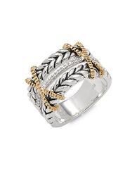 Bh Multi Color Corp. Diamond 18K Yellow Gold And Sterling Silver Ring