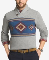 G.H. Bass And Co. Men's Shawl Collar Geometric Striped Sweater Gray