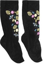 Falke Embroidered Stretch Tulle Socks Black