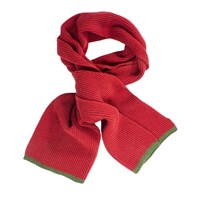 40 Colori Brick Green Small Ribbed Wool And Cashmere Scarf Red
