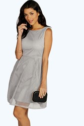 Boohoo Sarah Oversized Mesh Prom Dress Grey