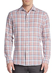 Saks Fifth Avenue Regular Fit Plaid Check Linen And Cotton Sportshirt Red Multi