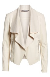 Bagatelle Drape Faux Leather And Faux Suede Jacket Cream