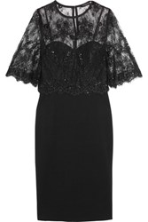 Catherine Deane Layered Lace And Ponte Dress Black