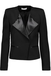 Iro Sarix Satin And Leather Trimmed Wool Blend Jacket Black
