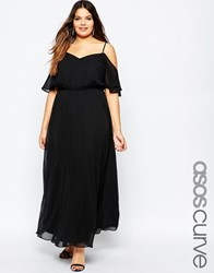 Asos Curve Maxi Dress With Cold Shoulder And Flutter Sleeve Black