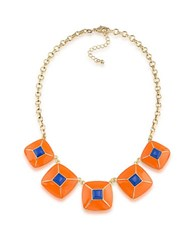 1St And Gorgeous Enamel Pyramid Pendant Statement Necklace In Blue Orange Gold